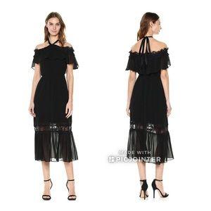 Nanette Lepore Cold Shoulder Halter Ruffle Dress 8